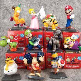 Deutschland Figuren Spielzeug Mario Bros Set 11box / lot Peach Prinzessin Daisy Toad Mario Luigi Yoshi Donkey Kong PVC Figuren Spielzeug Versorgung