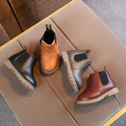 England fashion shoes online-Herbst Winter Jungen Martin Stiefel Kinder Pu-leder Turnschuhe für Mädchen Kleid Stiefeletten Reißverschluss Stiefel Mode England Stil Kinder Schuhe neu
