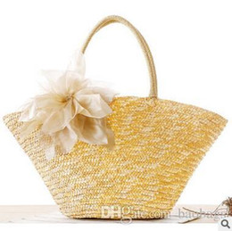 purple handbags for sale Promo Codes - Cheap Bohemian Woven Straw Handbag Shoulder Bag Bags Seaside Vacation Beach Bags Women Lady Shoulder Bags High-capacity Totes For Sale