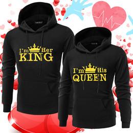 4c9c7205312 Mens white designer hoodie sweatshirt sweat coat pullover jackets Couples  KING QUEEN Crown Couple Loose Hooded Print Sweatshirt