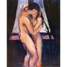 pinturas abstratas da lona para venda Desconto Bela obra de arte Edvard Munch para venda The Kiss abstract paintings Canvas Handmade
