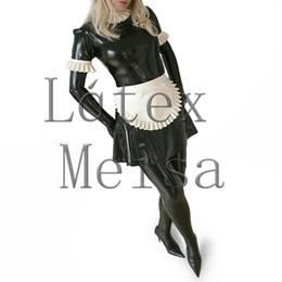 Luvas sexy pretas on-line-Novidade preto uniforme de empregada de látex com avental vestido servo plus size sem meia e luvas sexy