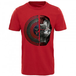Captain america camisa homens on-line-Estilo Punk T-shirt For Men Marvel Camiseta 3D Captain America Ironman Imprimir Top camisetas Guerra Civil Dividido nós caímos Mens Clothes
