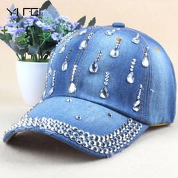 d15031186ad Brand New Denim Hats Fashion Leisure Woman Cap With Water Drop Rhinestones  Vintage Jean Cotton Baseball Caps For Men Hot Sale  17210