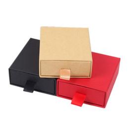 2019 embalagem dia dos namorados 7X8X3 cm preto marrom vermelho kraft gaveta de papel jóias pingente anel universal jóias caixa de presente de casamento dos Namorados dia embalagem desconto embalagem dia dos namorados