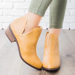 frauen flache stiefel Rabatt Heflashor Stiefel Frauen-Winter-Slip-on-verursachende Ankle Boots-Plattform-Schuhe Frau V Cut Ankle Booties Leder Low Heel Flats Schuhe