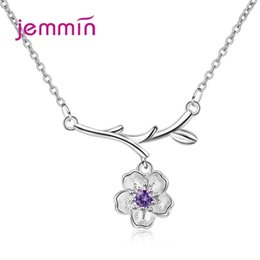 2019 collana di fiori di ciliegio Le donne fascino nuovo modo Cherry Blossoms collana In vendita 925 Silver Flower collane del pendente per il commercio all'ingrosso collana di fiori di ciliegio economici