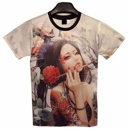 sexy m tattoos Coupons - 2018 new Classic New Fashion men's 3D t-shirt funny printed Classical sexy tattoo beauty flowers top tees 3d Tshirt TX197