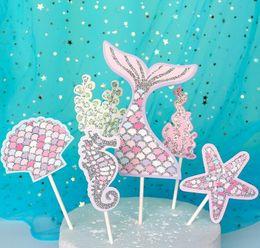 decorazioni di compleanno di cupcake Sconti Mermaid Tail Cupcake Topper Compleanno per bambini Sirenetta Decorazione per feste Baby Shower Under The Sea Cake Decor