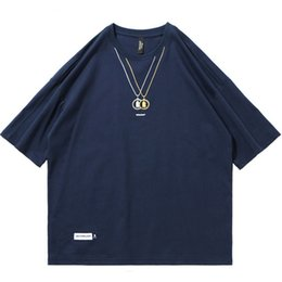 Halskette t-shirts online-Mens Hip Hop T-Shirt Halskette gedruckt Harajuku Tshirt Streetwear 2019 Sommer Shirt Hülse T-Shirts Baumwolle Tops Tees Hipster