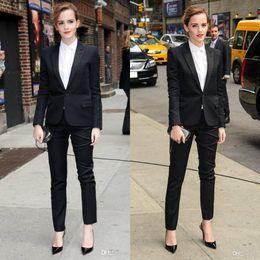 2019 oficina sexy viste Vestido de dama de honor 2020 Emma Watson Trajes negros Trajes de negocios formales por encargo Traje de pantalón sexy Uniformes de oficina oficina sexy viste baratos