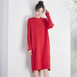 Le donne di modo vestono il grasso online-DMLFZMY 2019 inverno casuali delle donne lungo pullover maglione grande modo di formato leggermente temperamento MM grasso era vestito sottile signora 547