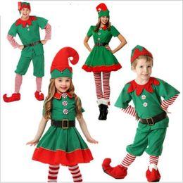 эльф косплей для хэллоуина Скидка Зеленый одежды Рождество Эльф костюм косплей для детей взрослых Родителей ребенка Нижнего платья Мужчины Женщина Halloween Оптом