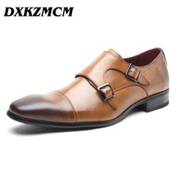 Confortável oxfords mens vestido sapatos on-line-Handmade Homens Oxfords Mens couro genuíno confortáveis formais sapatos pretos Brown Partido Negócios do vestido de casamento Shoes SH190926