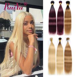 Extensiones de cabello humano 27 613 online-Paquetes de tejido de pelo liso brasileño T1B / 27 / 99J / 613 Extensiones de cabello humano de color rubio Paquetes de Borgoña Tramas de cabello Ruiyu Remy