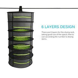 Più asciutto erba net online-Hanging Basket 4/6 strati con cerniera pieghevole secco stendino Net Dryer Mesh Bag per le erbe Fiori Buds Piante Rack a secco