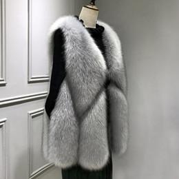 2019 chaleco de la piel del zorro de las mujeres WISSTT Nueva Llegada 2018 Invierno Cálido Moda Mujeres Chaleco de Piel Sintética Prendas de abrigo Para Mujer Abrigo de Piel de Faux Fox Femenino Más el tamaño S-3XL chaleco de la piel del zorro de las mujeres baratos