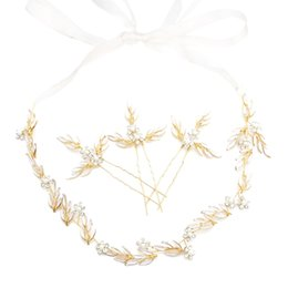 Boda nupcial oro hoja de metal trenzado perla horquillas pinza de pelo flor diadema larga Hairband accesorios para el cabello joyería de la novia desde fabricantes