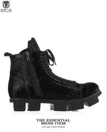 coole high heels winterstiefel Rabatt 2019 mode männer schwarz leder stiefel High end cool stiefel dicke ferse pferd pelz männer stiefel männer winter schuhe