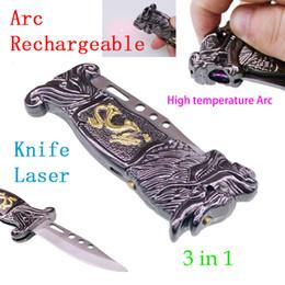 Cuchillo electrico recargable online-3 in1 eléctrico recargable Lighter Arc sin llama USB a prueba de viento Lighter + knife + láser herramienta portátil fashinable creativa