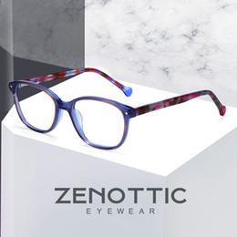 478827468e ZENOTTIC Acetato Azul Gafas Marco Infantil Miopía Óptica Marcos de Anteojos  Chicas Transparentes Marco de Gafas Lindas Niños Marca 2019