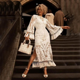 bodenlanges quastenkleid Rabatt 2020 Vintage reale Abend-Kleider mit langen Ärmeln mit Baumwollfutter Tassel Design bodenlangen formale Partei-volle Spitze nach Maß Abendkleid