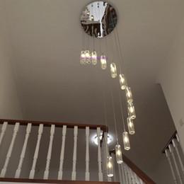 vaso redondo de 24 pulgadas Rebajas lámpara de araña led lámparas modernas de la sala lámpara de cristal lámpara led iluminación de la escalera lámparas de araña de cristal largas luz hogar ZG8070