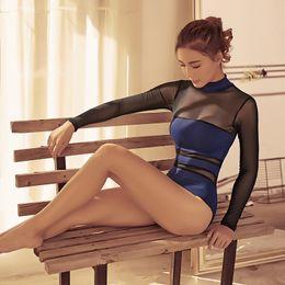 2019 mesh-high-neck-badeanzug ballett trikot gymnastik trikot high neck mesh ballerina tanzabnutzung sexy ballett trikots für frauen tanzen badeanzug rabatt mesh-high-neck-badeanzug