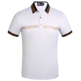 Ropa blanca de moda online-Ropa de moda camiseta de lujo para hombre diseñador Polo blanco camisetas de verano de manga corta solapa Turn Down Collar Tops camisas de polo