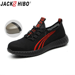 JACKSHIBO Sapatos de Segurança Para Homens Verão Sapatos de Trabalho Respirável Leve Anti-esmagamento Sapato Masculino Trabalho de Construção de Malha Sneakers de Fornecedores de zip up botas amarelas coxa
