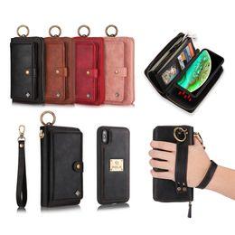 ajouter de l'art Promotion 14 fentes pour cartes portefeuilles cas de téléphone avec 3 bourses Zipper étui portefeuille en cuir aimant de couverture arrière pour iPhone 7 8 7p 8p X XR XS MAX
