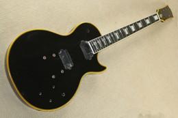 Gitarrengelbbindung online-Factory Custom Black E-Gitarren-Kit (Teile) mit gelber Bindung, Block Fret Inlay, DIY-Halbzeuge, Angebot angepasst