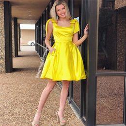 Weddings & Events Brillant Eine Schulter Gelb Homecoming Kleider Mit Top Perlen Knie Länge Vestido De Formatura Vestidos Cortos GroßEr Ausverkauf