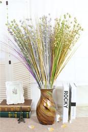 nozze di fiori di glitter Sconti fiore artificiale Argento dorato Glitter Fiore artificiale Gambi dorati Simulazione Fiori Fai da te Ramo Cerimonia di nozze Decorazione EEA157