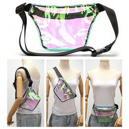 Bloco de Fanny Unisex Laser Limpar arco-íris Holograma cintura Bag Mulheres Viagem Bandoleira Sacos De Ombro armazenamento do telefone Caso A41201 de