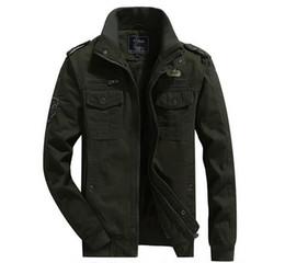 Uomini giacca militari cachi online-Khaki giacca militare uomini vestiti casual più velluto Jaqueta Masculina chaqueta hombre masculino casaco giacche da uomo e cappotti