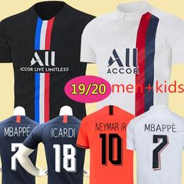entrenamiento de sombrero negro Rebajas 19 20 PSG Mbappé CAVANI DI MARIA Matuidi ICARDI de fútbol de local camiseta de fútbol hombre y niños adultos caliente kit camiseta deportiva