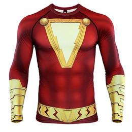 2019 zentai unisex oro catsuit Shazam 3D Stampato T-shirt da uomo Camicie da compressione Raglan Sleeve 2019 Nuovo modello Comic Tops Maschere maschili Cosplay Panno