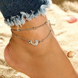 Braccialetto d'argento delfino online-Dolphin Ankle Silver Beads Cavigliere Bohemian Dolphin Charm Cavigliere Elegante Layered Bead Chain Bracciali Gioielli piede Sandali regalo