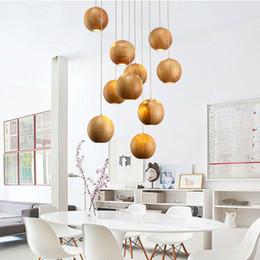 moderne lampe holz Rabatt Runde Kugel Globus Oark Holzperle Kronleuchter Leuchte moderne nordische skandinavische japanische Hängelampe Glanz Esszimmer