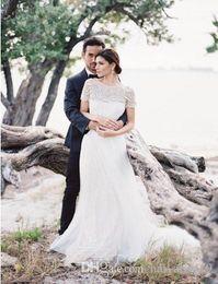 ef8b8eeb613 country wedding dress short sleeves Australia - Country Wedding Dresses  Bateau Neck Illusion Short Sleeves Beading