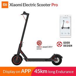 Доставка ховербордом онлайн-Xiaomi Mijia портативный складной умный электрический скутер Pro для взрослых longboard hoverboard скейтборд 45 км пробег 25 км / ч ИБП Бесплатная доставка