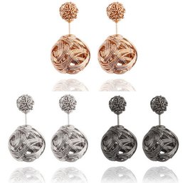 earrings for girls double sided Promo Codes - High quality Double sided Shambala Ball Stud Earrings Metal Braided Hollow Studs disco beads Earings fine Jewelry for women girls 170018