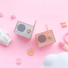 Mini haut-parleur bluetooth rose en Ligne-Haut-parleur Bluetooth rétro Vintage Mini nostalgique Basse lourde 3D Stéréo Surround Effets sonores Hifi Rose Blanc