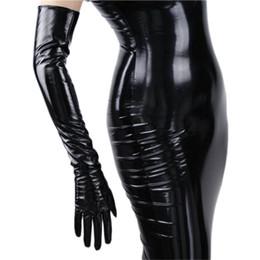 2019 guanti meccanici xl lusso- Guanti di cuoio lunghi da donna alla moda 70 cm lungo sopra il gomito similpelle PU Seiko senza fodera nero TB16 D18110705