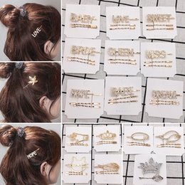 love hair Coupons - Fashion Crystal Hairpin Shiny Rhinestones QUEEN LOVE Letters Hair Clips set Hair Accessories for Women Girls Drop shipping