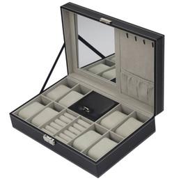 guarda lo schermo di tocco dell'affissione a cristalli liquidi Sconti 2/6/10/12 OUTAD 10/12 Leather Slot griglia PU Guarda gioielli casella di visualizzazione cassa dell'organizzatore di immagazzinaggio bloccato vigilanza dell'esposizione Box