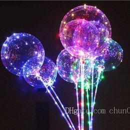 2019 transparente ballons großhandel Transparenter Bobo-Ballon-Blasen-Großhandelsball mit aushöhlen-herzförmigem Blasen-Ballon mit LED-Licht-musikalischem Griff der Party-Dekoration rabatt transparente ballons großhandel