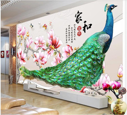 peacock flying Promo Codes - 3d wallpaper custom photo mural Peacock flying beautiful magnolia flower background home decor living room wallpaper for walls 3 d