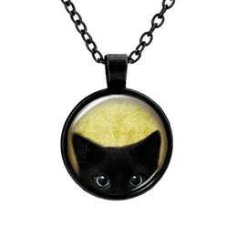 vintage cat necklace Coupons - 2017 Unique Necklace Glass Cabochon Bronze Tradition Black Cat Picture Vintage Pendant Necklace For Women